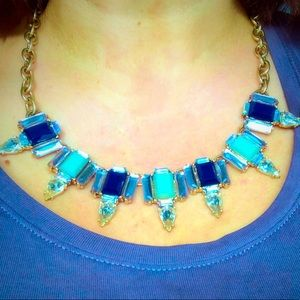 Gold Blue Tan Statement Necklace